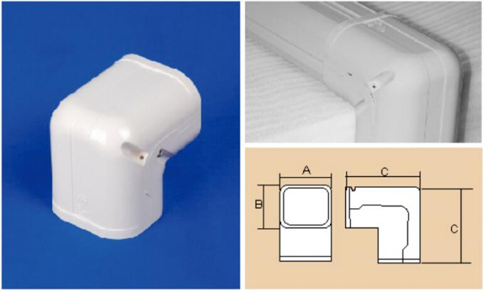 150mm White Air Conditioner Pipe Cover Parts AC Duct Fitting PVC Elbow Corner 0